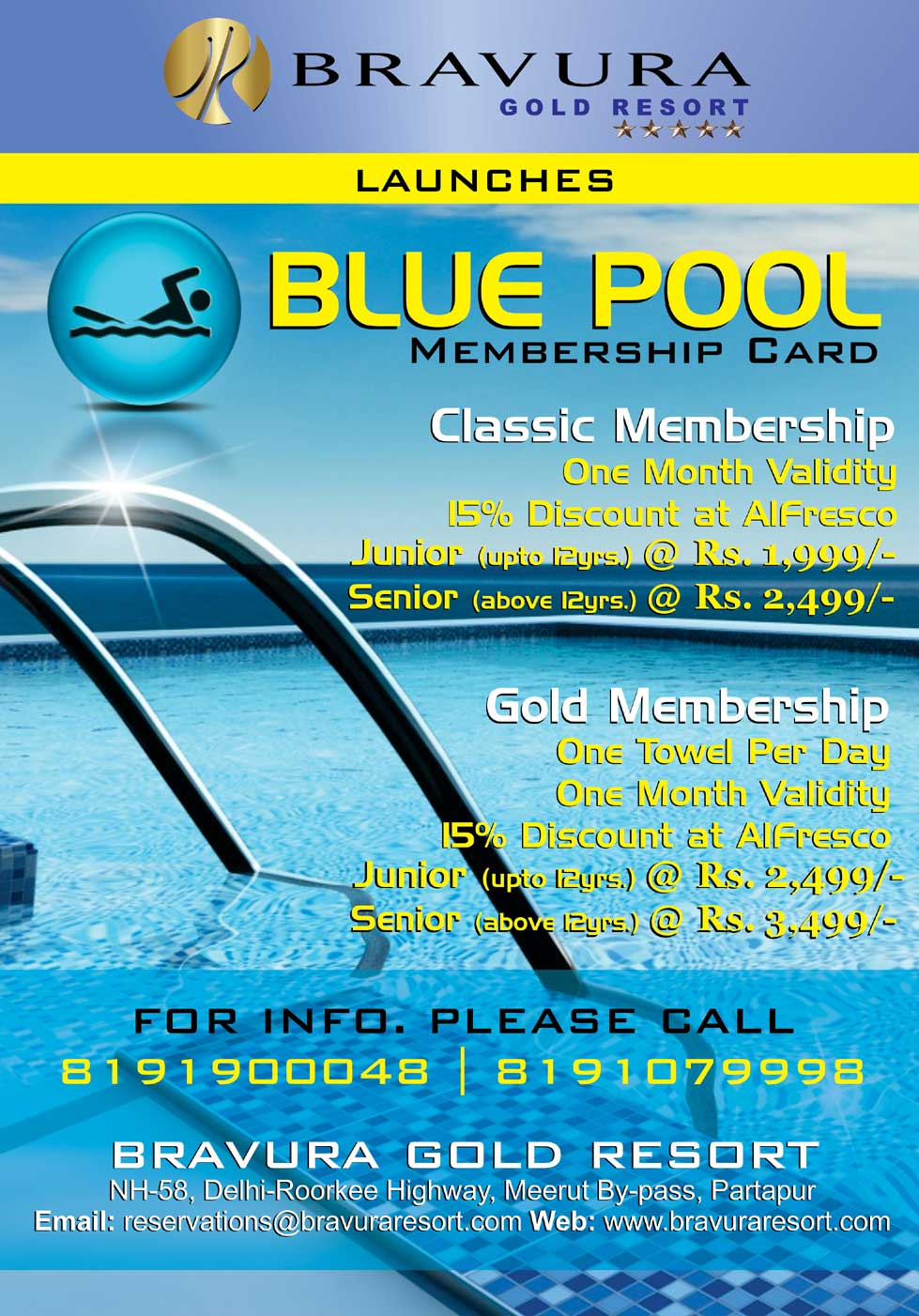Swimming Pool Membership Cards